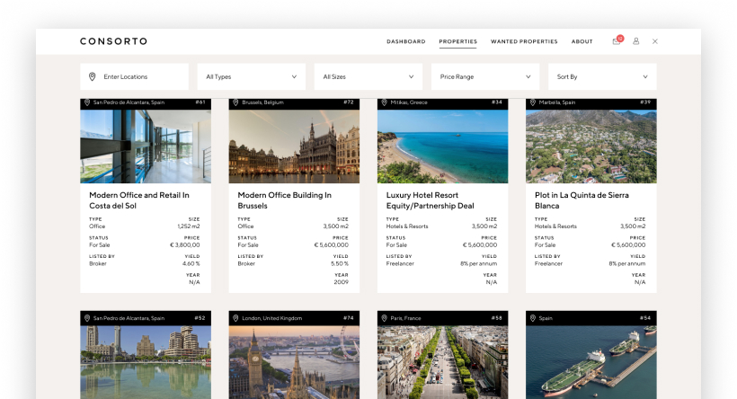 List or view properties for sale in Europe