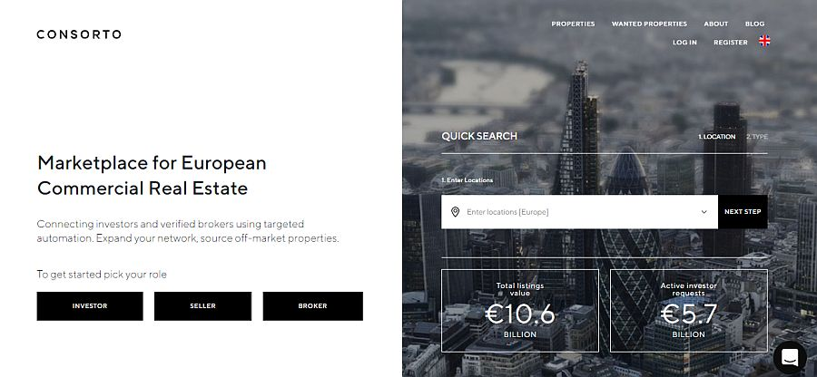 Consorto.com is the only cross-border commercial real estate platform in Europe with more than €10billion in total listings online